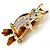 Two Sitting Diamante Owls Brooch (Gold Tone) - view 4