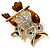Two Sitting Diamante Owls Brooch (Gold Tone) - view 5