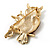 Two Sitting Diamante Owls Brooch (Gold Tone) - view 6