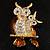 Two Sitting Diamante Owls Brooch (Gold Tone) - view 2
