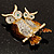 Two Sitting Diamante Owls Brooch (Gold Tone) - view 7