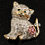Two Tone Crystal Cat Brooch - view 8