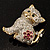 Two Tone Crystal Cat Brooch - view 9