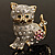 Two Tone Crystal Cat Brooch - view 3