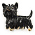 Black Enamel Puppy Dog Brooch (Gold Tone)