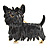 Black Enamel Puppy Dog Brooch (Gold Tone) - view 3