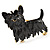 Black Enamel Puppy Dog Brooch (Gold Tone) - view 4