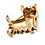 Black Enamel Puppy Dog Brooch (Gold Tone) - view 5