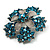 Light Blue Crystal Flower Brooch (Silver Tone) - view 3