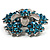 Light Blue Crystal Flower Brooch (Silver Tone) - view 5