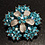 Light Blue Crystal Flower Brooch (Silver Tone) - view 2