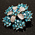 Light Blue Crystal Flower Brooch (Silver Tone) - view 4
