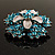 Light Blue Crystal Flower Brooch (Silver Tone) - view 6