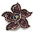 Small Violet Diamante Flower Brooch (Silver Tone)