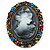 Multicoloured Bronze Vintage Cameo Brooch&Pendant