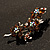 Swarovski Crystal Floral Brooch (Silver Tone & Amber Coloured) - view 8