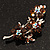 Swarovski Crystal Floral Brooch (Silver Tone & Amber Coloured) - view 2
