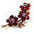 Swarovski Crystal Floral Brooch (Antique Gold & Burgundy Red) - view 3