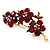 Swarovski Crystal Floral Brooch (Antique Gold & Burgundy Red) - view 1