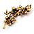Swarovski Crystal Floral Brooch (Antique Gold & Burgundy Red) - view 4