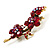 Swarovski Crystal Floral Brooch (Antique Gold & Burgundy Red) - view 7