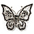 Jet Black Crystal Butterfly Brooch (Silver Tone Metal)