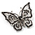Jet Black Crystal Butterfly Brooch (Silver Tone Metal) - view 2