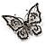 Jet Black Crystal Butterfly Brooch (Silver Tone Metal) - view 2