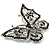 Jet Black Crystal Butterfly Brooch (Silver Tone Metal) - view 3