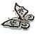 Jet Black Crystal Butterfly Brooch (Silver Tone Metal) - view 3