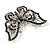 Jet Black Crystal Butterfly Brooch (Silver Tone Metal) - view 4