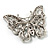 Jet Black Crystal Butterfly Brooch (Silver Tone Metal) - view 6