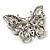 Jet Black Crystal Butterfly Brooch (Silver Tone Metal) - view 6