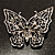 Jet Black Crystal Butterfly Brooch (Silver Tone Metal) - view 7