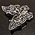 Jet Black Crystal Butterfly Brooch (Silver Tone Metal) - view 8