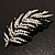 Statement Crystal Leaf Brooch (Black & Clear) - view 7