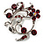 Burgundy Red Crystal Floral Wreath Brooch (Silver Tone) - view 1