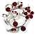 Burgundy Red Crystal Floral Wreath Brooch (Silver Tone) - view 4