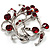 Burgundy Red Crystal Floral Wreath Brooch (Silver Tone) - view 5