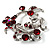 Burgundy Red Crystal Floral Wreath Brooch (Silver Tone) - view 3