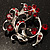 Burgundy Red Crystal Floral Wreath Brooch (Silver Tone) - view 2
