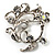 Clear Crystal Floral Wreath Brooch (Silver Tone)