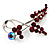 Burgundy Red Diamante Floral Brooch (Silver Tone) - view 5