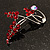 Burgundy Red Diamante Floral Brooch (Silver Tone) - view 7