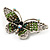Green Crystal Butterfly Brooch (Silver Tone) - view 4
