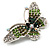 Green Crystal Butterfly Brooch (Silver Tone) - view 3
