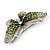 Green Crystal Butterfly Brooch (Silver Tone) - view 5