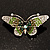 Green Crystal Butterfly Brooch (Silver Tone) - view 7