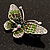 Green Crystal Butterfly Brooch (Silver Tone) - view 2