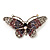 Purple Crystal Butterfly Brooch (Silver Tone)